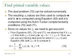 find primal variable values