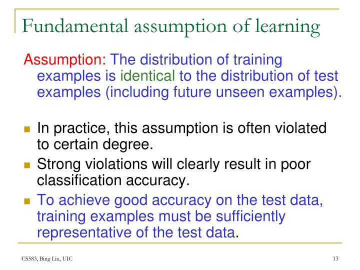 Fundamental assumption of learning