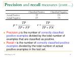 precision and recall measures cont