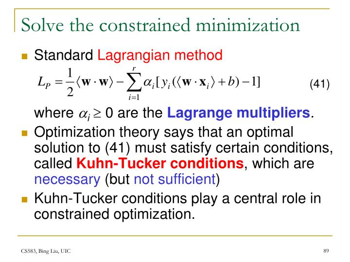 Solve the constrained minimization
