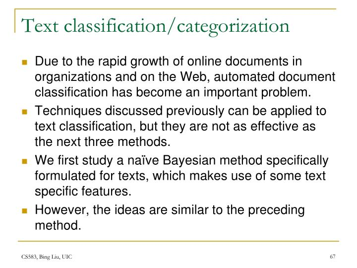 Text classification/categorization