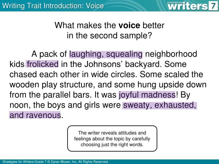 Writing Trait Introduction: Voice