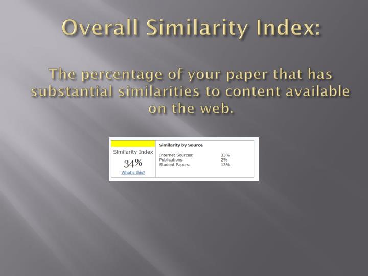 Overall Similarity Index: