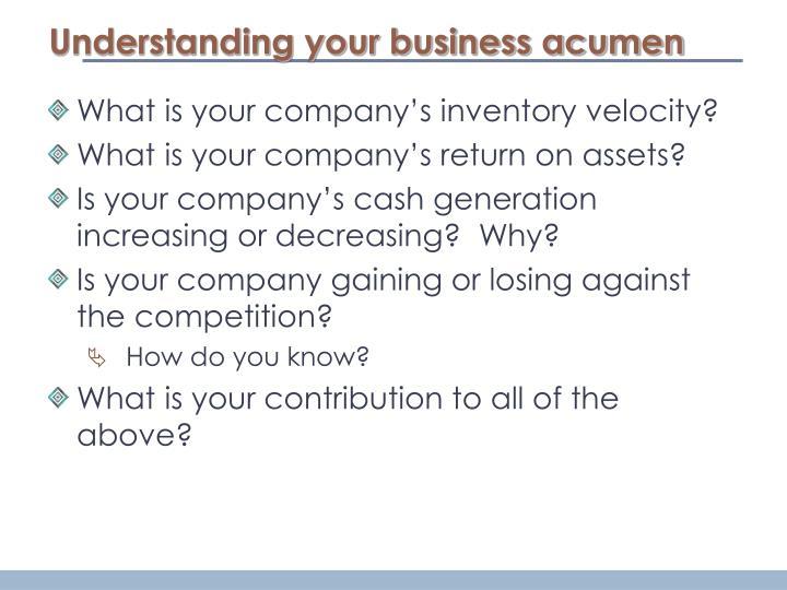 Understanding your business acumen