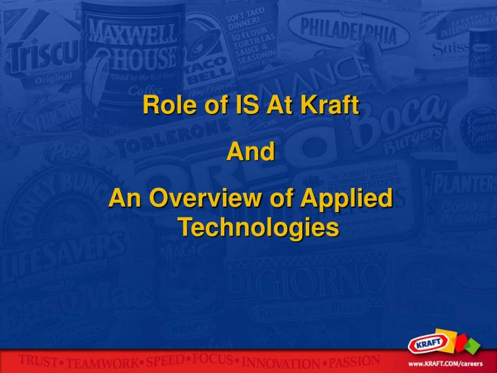 Role of IS At Kraft