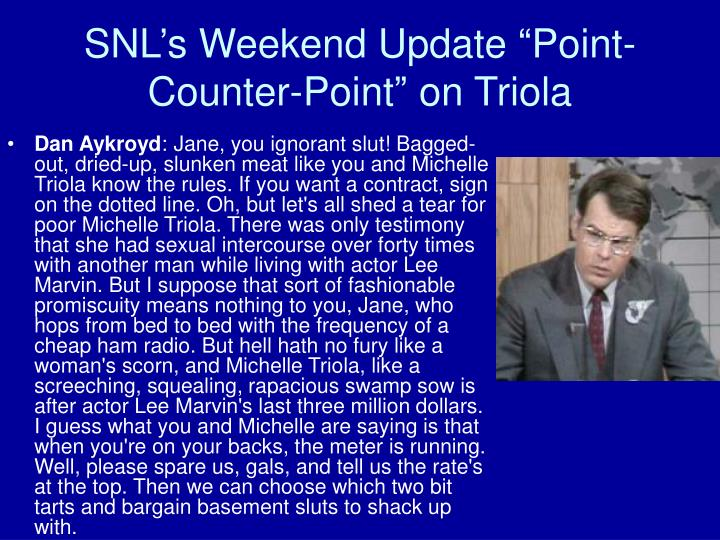 """SNL's Weekend Update """"Point-Counter-Point"""" on Triola"""