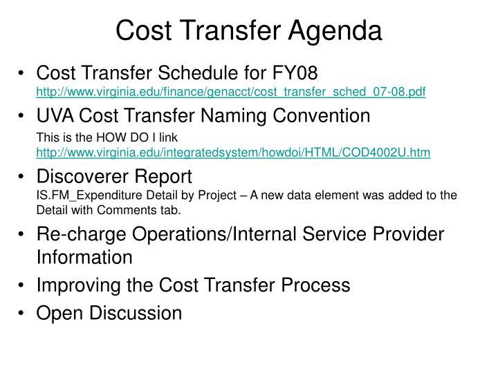 Cost Transfer Agenda