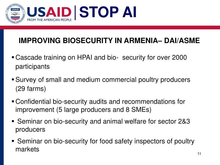 IMPROVING BIOSECURITY IN ARMENIA– DAI/ASME