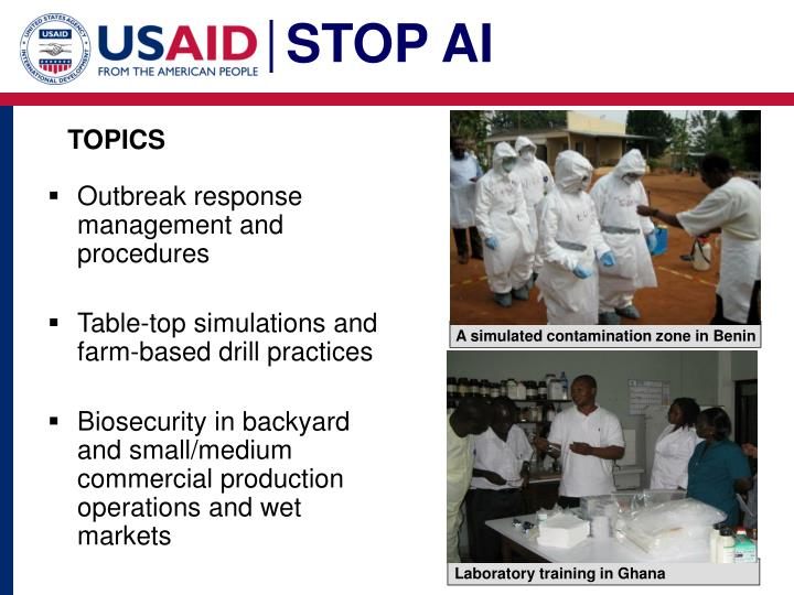 A simulated contamination zone in Benin
