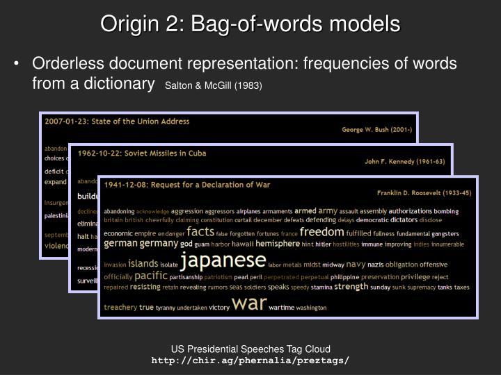 Origin 2: Bag-of-words models