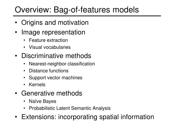 Overview: Bag-of-features models
