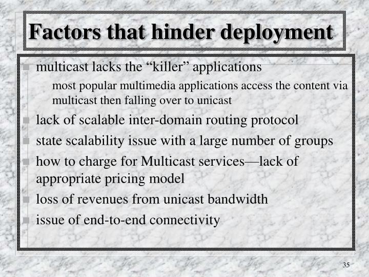 Factors that hinder deployment