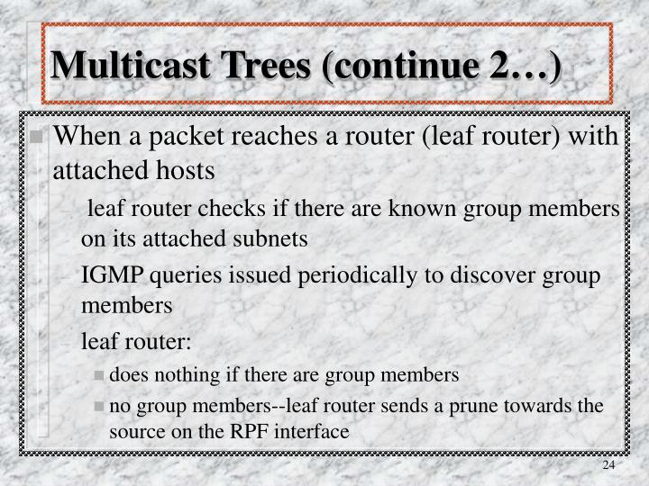 Multicast Trees (continue 2…)