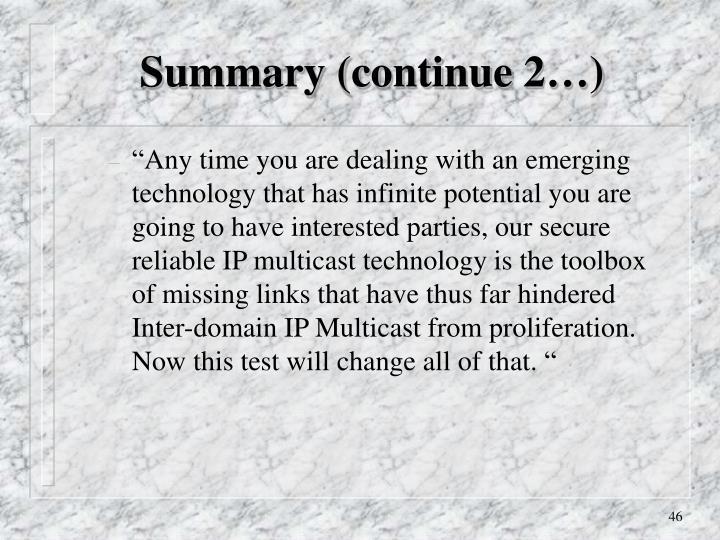 Summary (continue 2…)