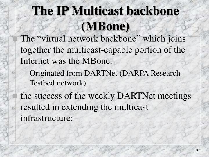 The IP Multicast backbone (MBone)