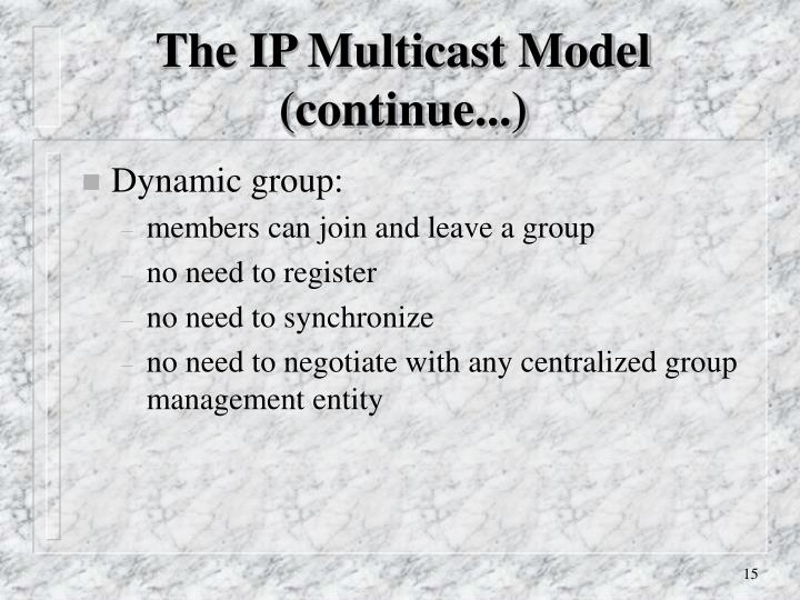 The IP Multicast Model (continue...)