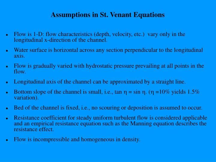 Assumptions in St. Venant Equations