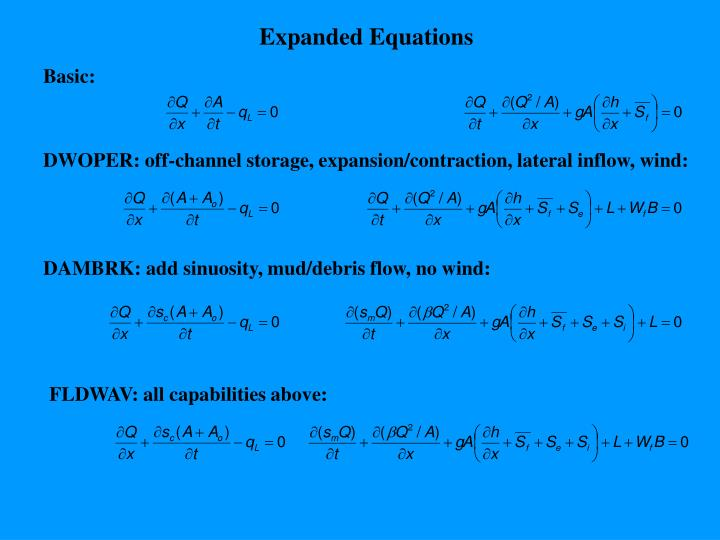 Expanded Equations