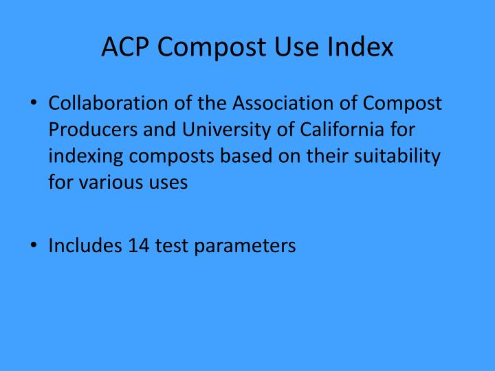 ACP Compost Use Index