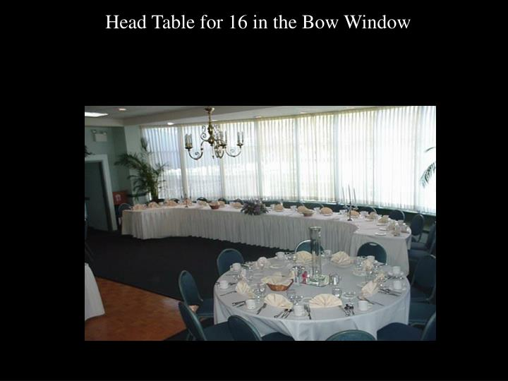 Head Table for 16 in the Bow Window