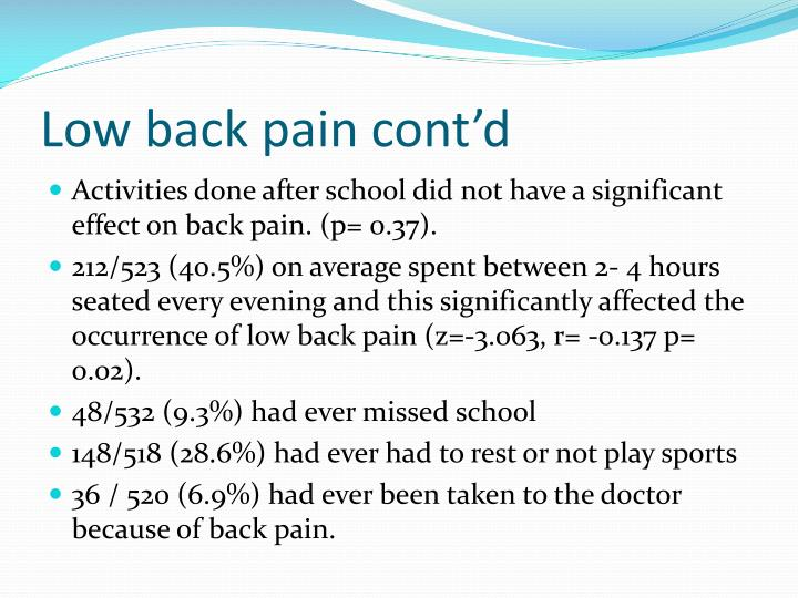 Low back pain cont'd