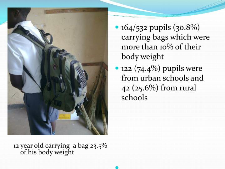 12 year old carrying  a bag 23.5% of his body weight