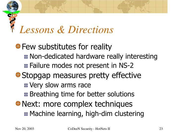 Lessons & Directions