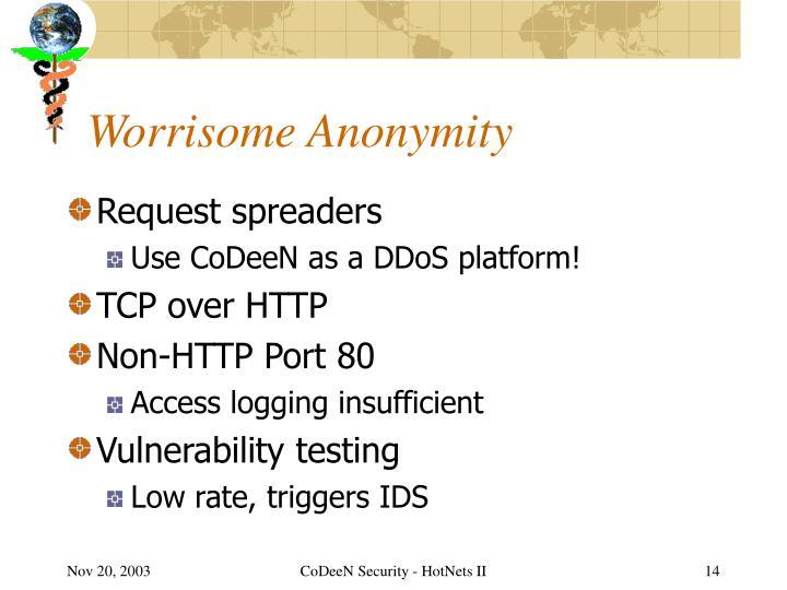 Worrisome Anonymity