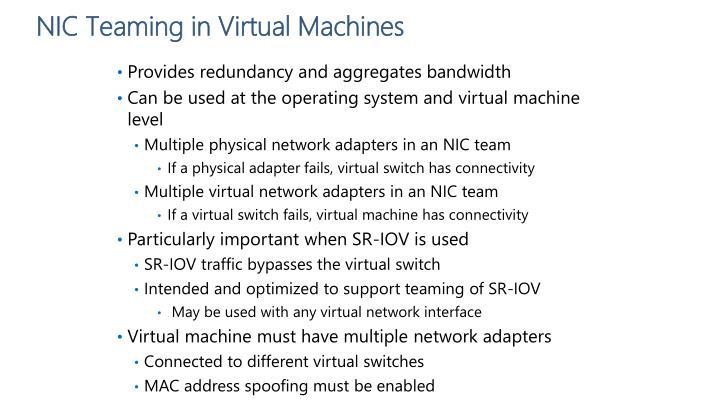 NIC Teaming in Virtual Machines