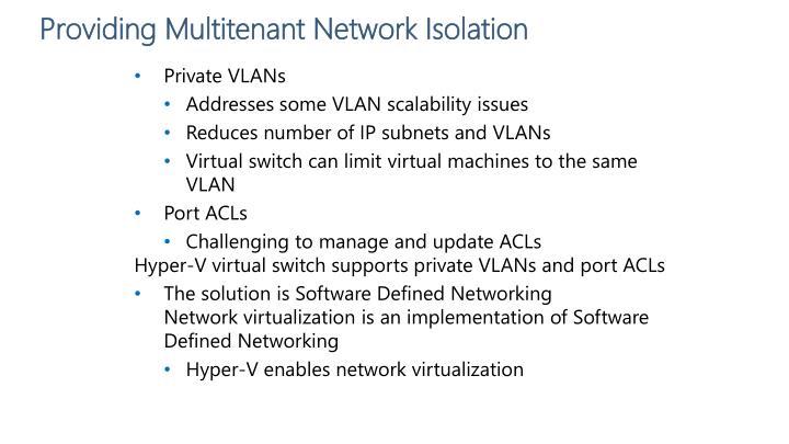Providing Multitenant Network Isolation