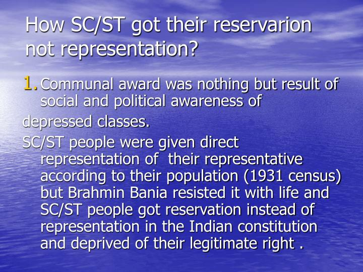 How SC/ST got their reservarion not representation?