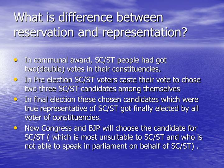 What is difference between reservation and representation?