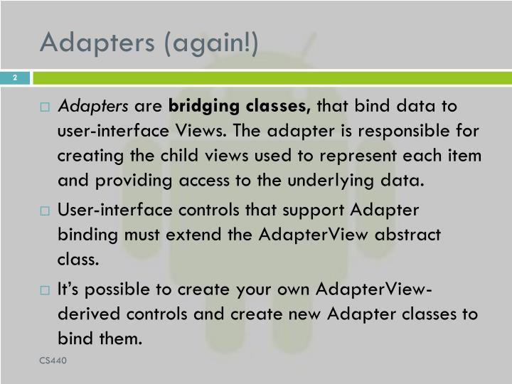 Adapters (again!)