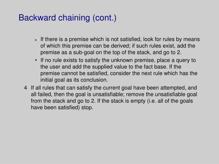 Backward chaining cont