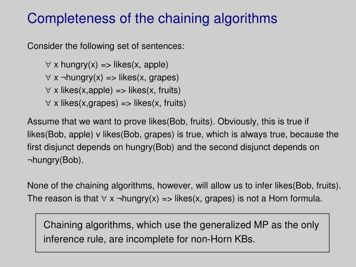 Completeness of the chaining algorithms