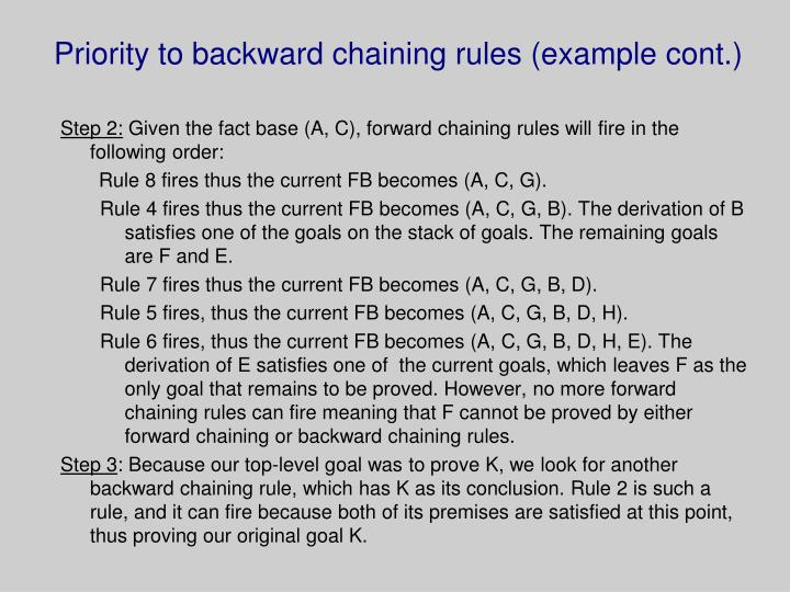Priority to backward chaining rules (example cont.)