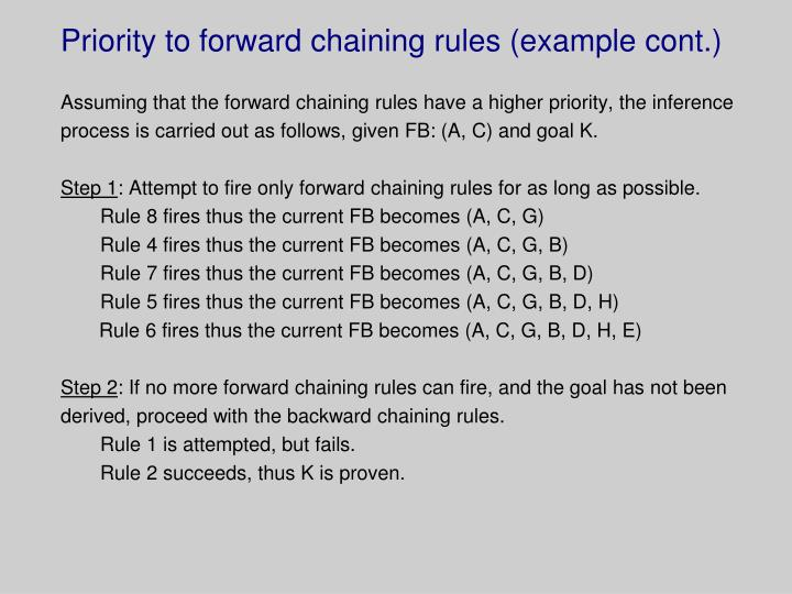 Priority to forward chaining rules (example cont.)
