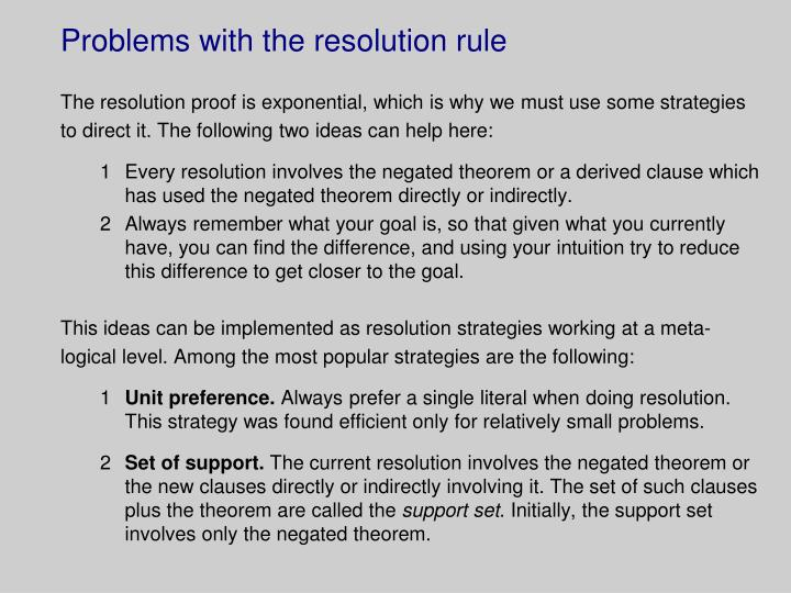 Problems with the resolution rule