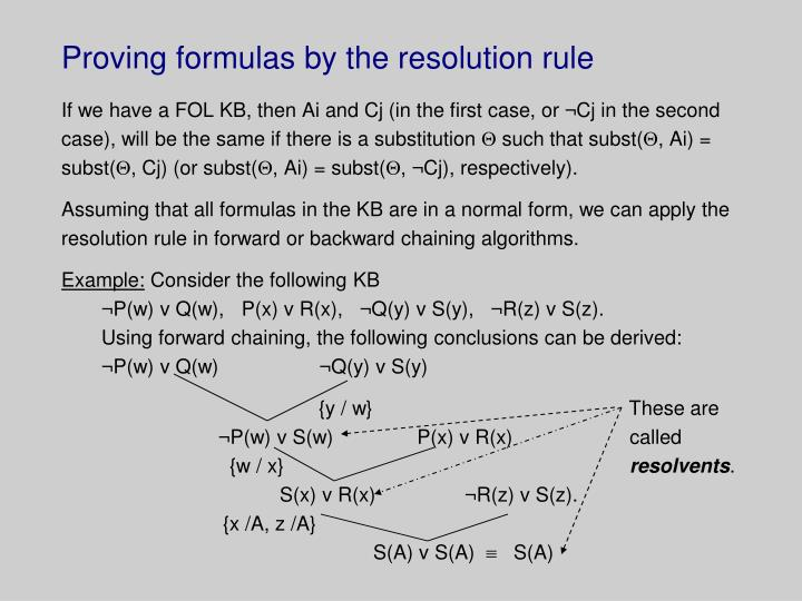 Proving formulas by the resolution rule
