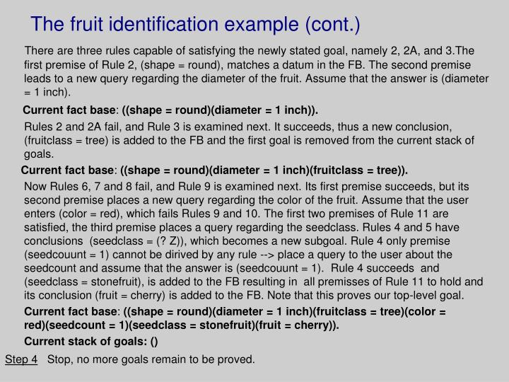 The fruit identification example (cont.)