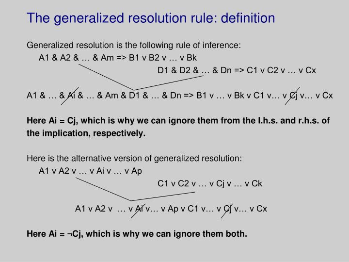 The generalized resolution rule: definition