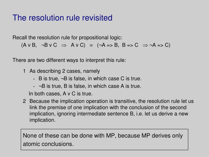The resolution rule revisited