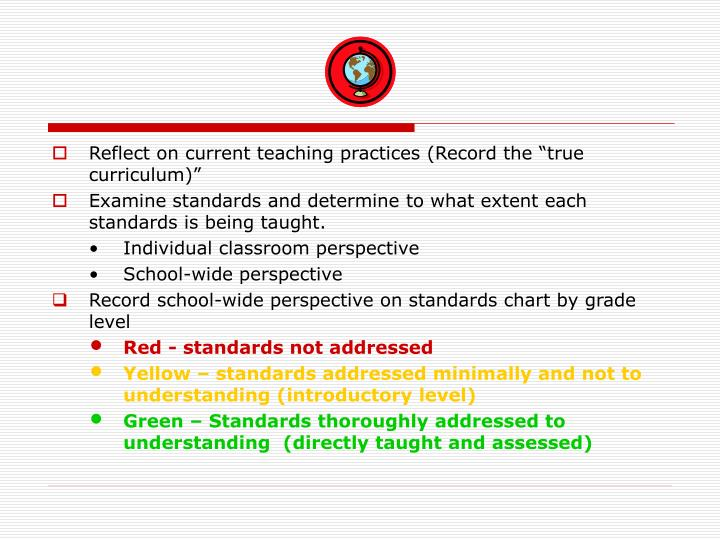 """Reflect on current teaching practices (Record the """"true curriculum)"""""""
