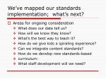 we ve mapped our standards implementation what s next