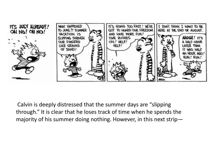 """Calvin is deeply distressed that the summer days are """"slipping through.""""It is clear that"""