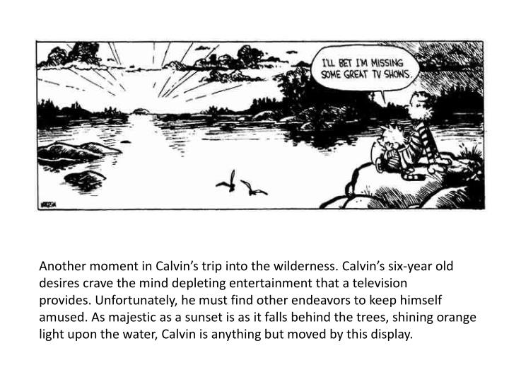 Another moment in Calvin's trip into the wilderness.Calvin's six-year old desires crave the mind depleting entertainment that a television provides.Unfortunately, he must find other endeavors to keep himself amused.As majestic as a sunset is as it falls behind the trees, shining orange light upon the water, Calvin is anything but moved by this display.