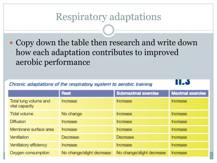 Respiratory adaptations