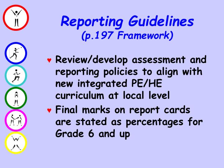 Review/develop assessment and reporting policies to align with new integrated PE/HE curriculum at local level