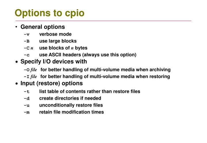 Options to cpio