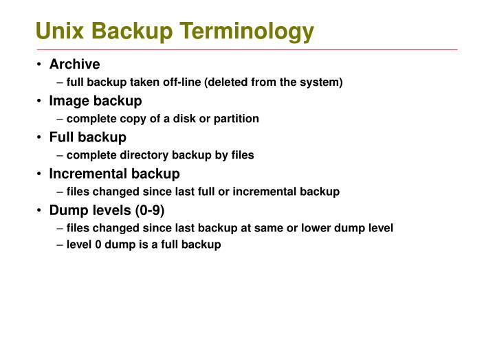 Unix Backup Terminology
